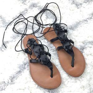 Joie Torres black ankle wrap gladiator sandals